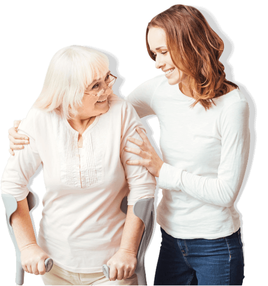 Pleasant caring woman helping with her grandmother